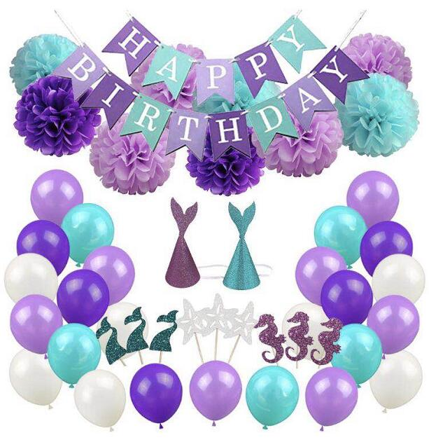 Birthday party decoration little mermaid party supplies banner, pom pom flowers, hat, balloons cupcake toppers