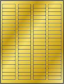 """8,000 Label Outfitters 1-3/4"""" x 1/2"""" Gold Metallic Foil Laser Labels 100 Sheets (Avery 5167 Format)"""