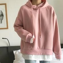 Толстовка Женская, осенняя, зимняя, розовая, с капюшоном, в Корейском стиле(Китай)