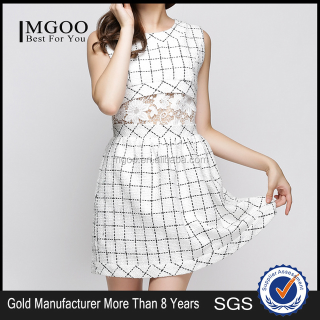 MGOO OEM Services Imported China White Plaid Dress For 2015 Summer Vestidos De Renda Sleeveless Lace Waist K0722156