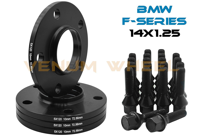 "4 Pc 10mm (3/8"") Bmw (5x120mm) Black Hub Centric Wheel Spacers + 14x1.25 Black Conical Lug Bolts Fits 2015-2016 M3 M4 2013-2016 M5 M6"