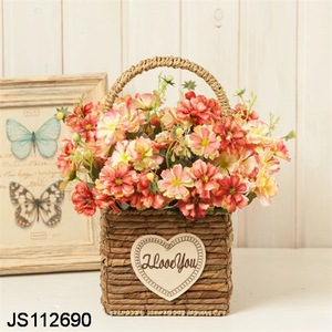 Rattan baskets square flower pot with artificial rose wedding flower