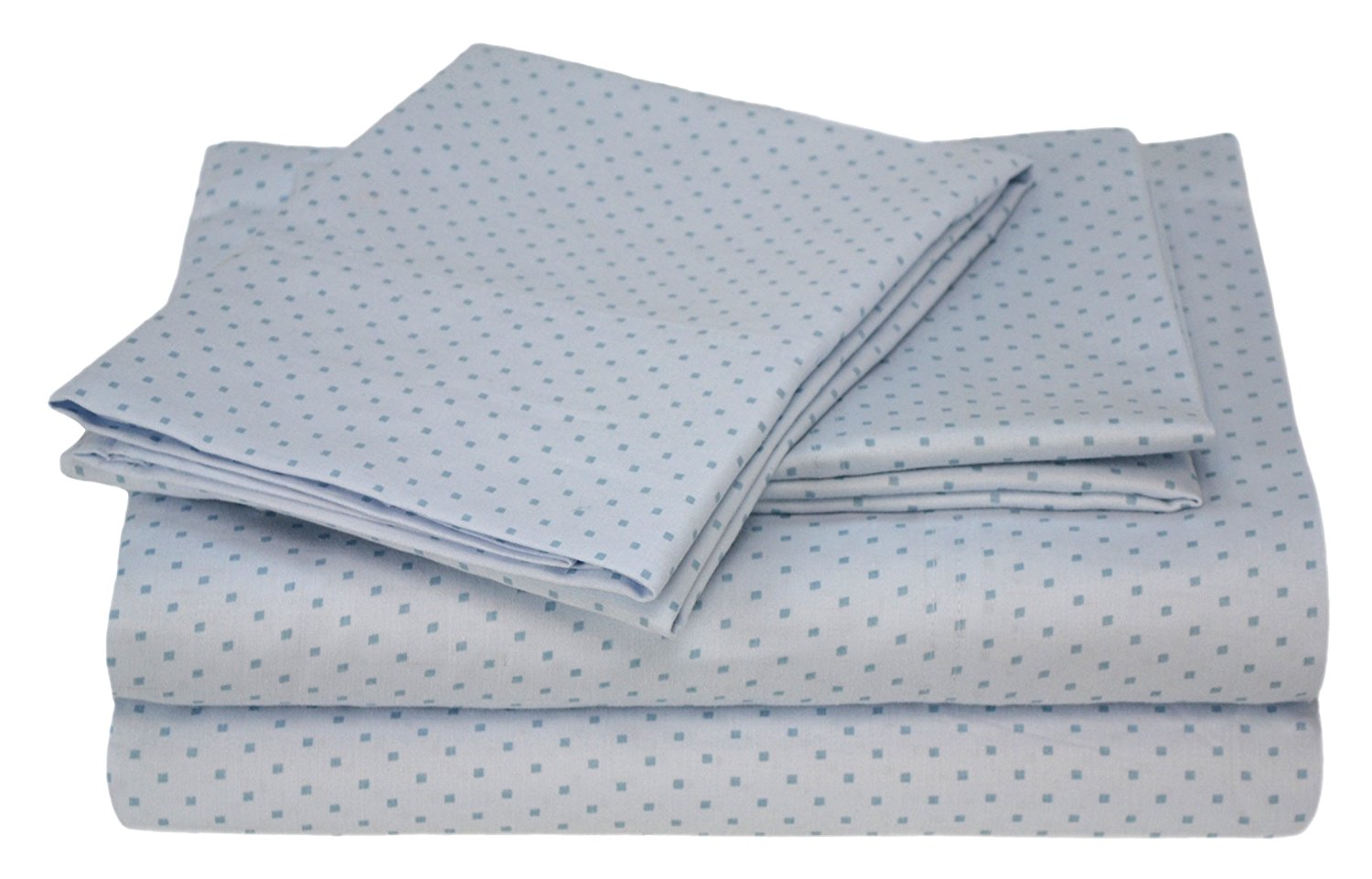 Carleton Collection 300 Thread-Count 100-Percent Cotton Sateen Printed Dot King Size 4-Piece Sheet Set, Light Blue