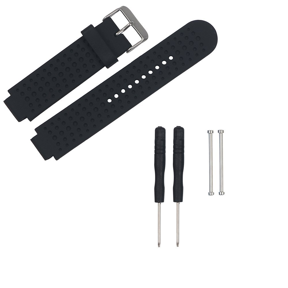 V.one Garmin Forerunner 235 Replacement Strap Silicone Band for Garmin Forerunner 220/230/ 235/620/630/735xt Smart Watch with Polished Stainless Steel Buckle and Replacement Screws Accessory (Black)