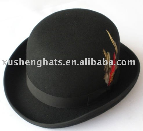 b86e1954cebcf 100% Wool Felt Feather Bowler Hat For Men - Buy Bowler Hat