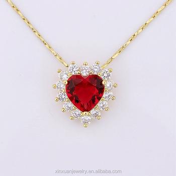 nuevo producto a3496 e6a89 18 K Oro Rojo Corazón Rubí De Diamante Gargantilla Collar Para Regalo - Buy  Collar De Gargantilla,Collar De Oro,Collar De Rubí Rojo Product on ...