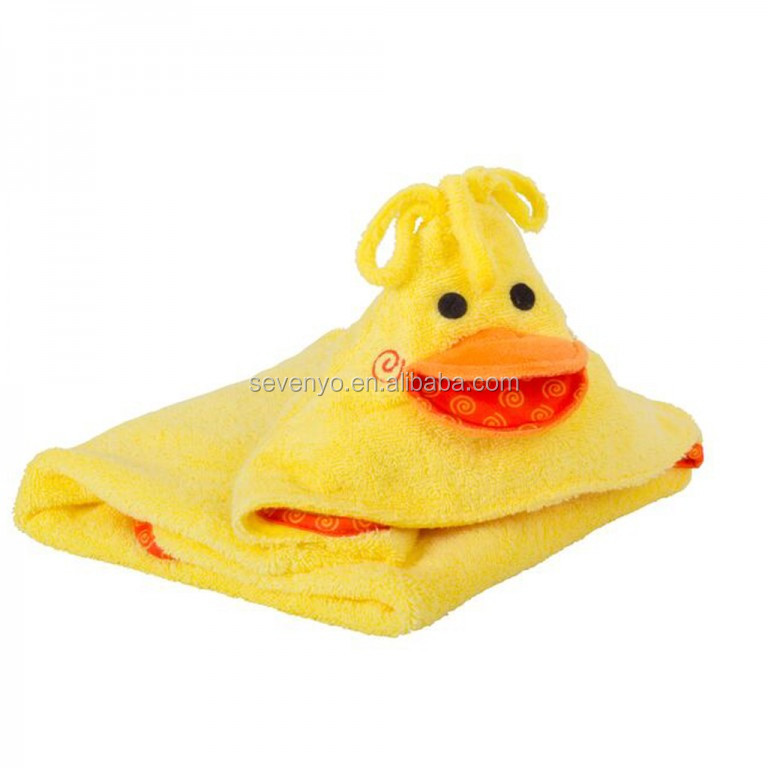 100%cotton duck baby hooded towel yellow