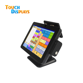 15 Inch Point Of Sale Supermarket Pos Terminal System Dual System All In One