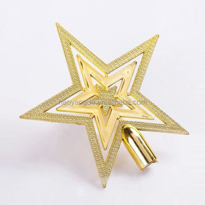 Hot Sale Christmas Tree Topper Star Gold Star Xmas Decoration Ornament Buy Plastic Star Christmas Tree Ornaments Star Shaped Christmas