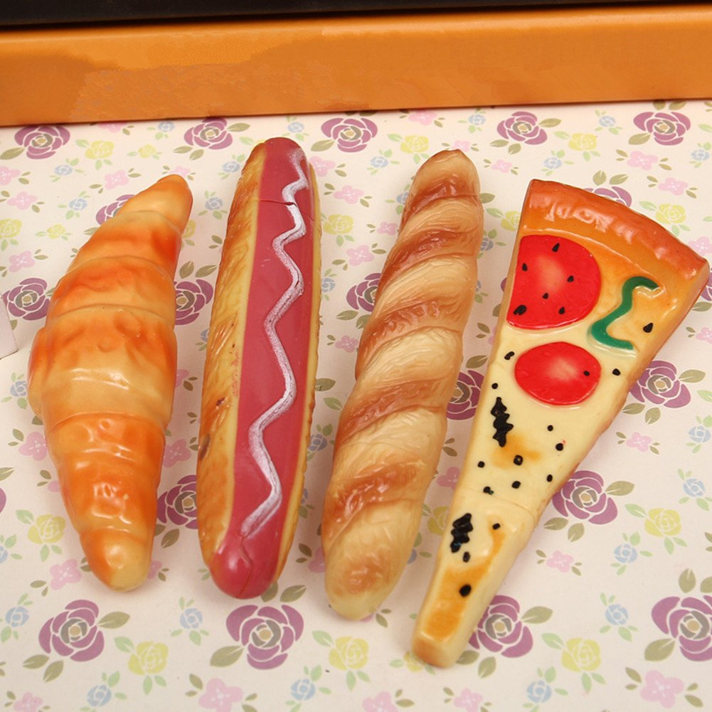 Novelty Gift Pens Bread Hot Dog Ice Cream Pizza Pen Stick Magnet Ballpoint Pens Toy Creative Gift Pen Writing Pens Stationery School Office Suppliers Pack of 4