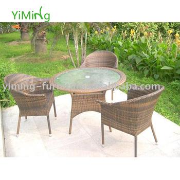 Lala Patio Woven Rattan Furniture Plastic Coffee Round Dining Set Hotel
