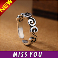 Vintage Sterling 925 Silver Plated rolling Cloud Ring