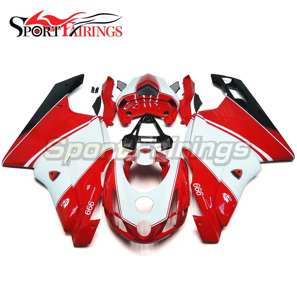 Sportfairings Motorcycle Injection ABS Plastic Complete Fairing Kits For DUCAT 999 749 Monoposto 2003 2004 Single Seat Red White