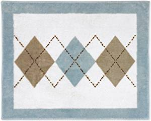 Brown and Blue Argyle Accent Floor Rug by Sweet Jojo Designs