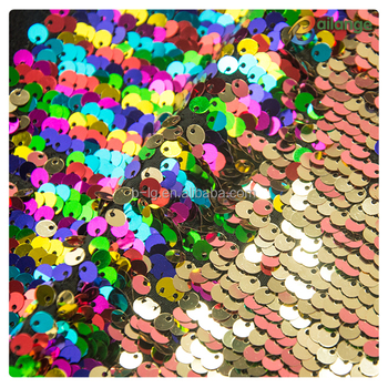 156614a6 Rainbow and gold reversible sequins fabric for bag shoes clothes decoration