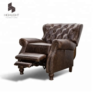 High Quality Dark Brown Genuine wax Leather relax Glider Recliner Chair