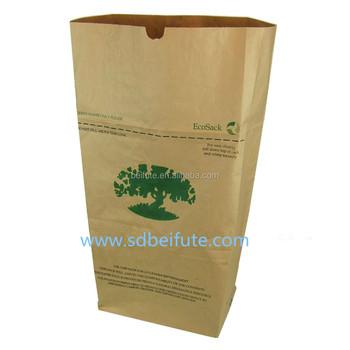 Biodegradable Printed Garden Waterproof Yard Waste Paper Trash Kraft Bag 30 Gallons
