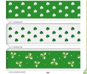 Wholesale lovely St . Patrick's Day theme printed grosgrain ribbons