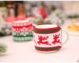 HB005 Christmas Knitted Woolen Cup Set Jacquard Knitting Knit Glass Cup Set Mug Set