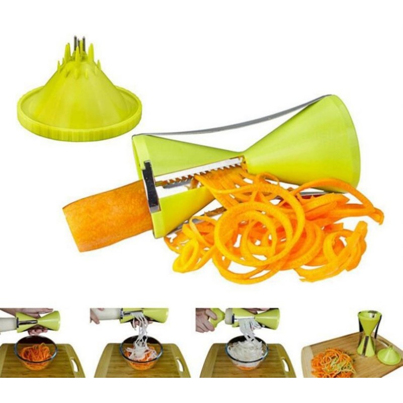 Quiki Replaceable Blades <strong>Spiral</strong> Slicer Fruit and <strong>Vegetable</strong> Spiralizer Carrot Cucumber Grater <strong>Cutters</strong> With 4 Blades