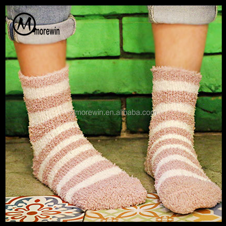 Morewin brand coral fleece socks lined socks slipper socks