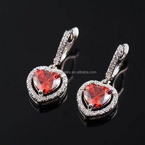 Attractive Rose Gold Heart Shape Zircon Red color Stone Earrings