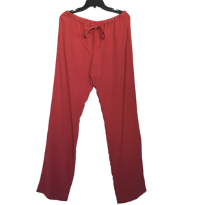 Female Red Silk CDC Stone Washed Pants with Waist Tie Silk Crepe Pants For Women
