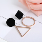Women Black Rose Gold Color Asymmetric Stainless Steel Geometric Earrings Fashion Mismatched Circle Triangle Drop Dangle Earring