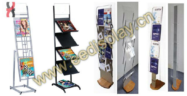 Floor standing metal magazine rack 4 tier/tier book display rack/4-tier metal brochure display racks