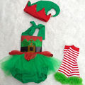 Fashion Casual Baby Girl Tulle Romper Leg Warmers Hat Cute Kids Christmas 3pcs Outfit Set Costume