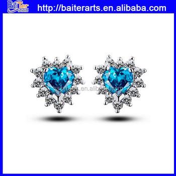 Whole Pear Cut Gold Plating Blue Earrings For Men Hot Diamond Stud White