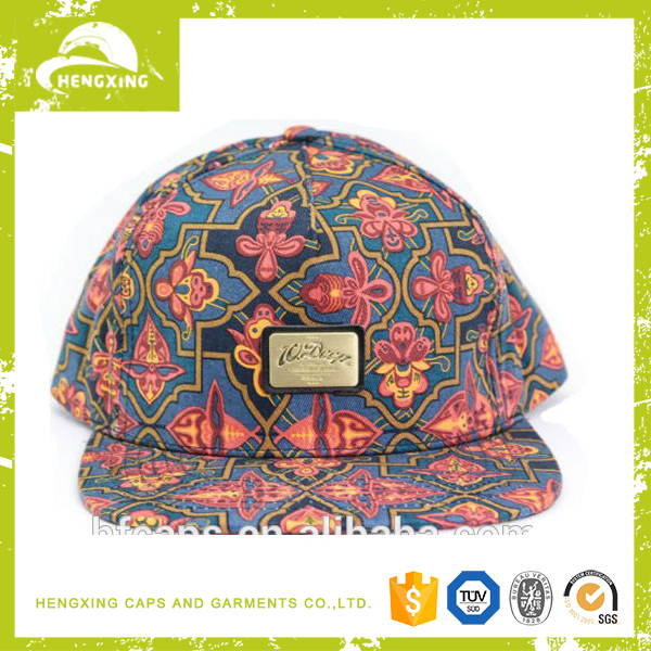 High Quality Hengxing Caps/Adjust Metal Plate Snapback Hats/Cheap Floral Print Snapback Hats