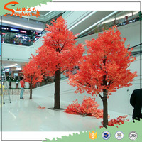 2017 hot sale artificial tree plastic tree autumn artificial maple tree for garden decoration