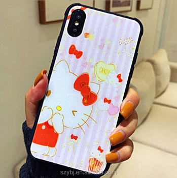 reputable site bea83 646cd Good Selling Lovely Cat Hello Kitty Tempered Light Glass Phone Case Cover  Accessories Mobile Case For Iphone 8 - Buy Hello Kitty Cat Tempered Glass  ...