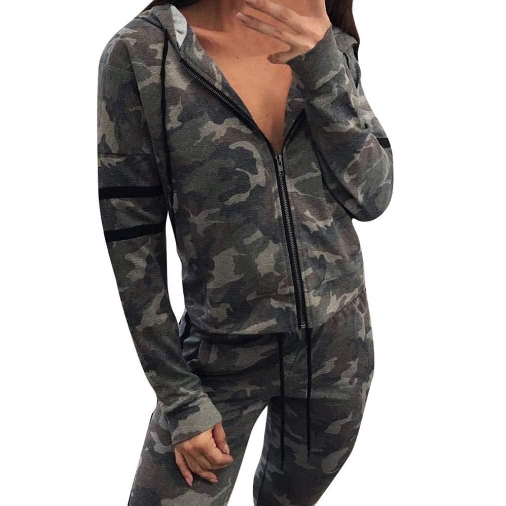 Hot Sale!! Women Camouflage Outwear,Lelili women fashion Zipper Striped Hooded Jacket Casual Sweatshirt (M, Camouflage)
