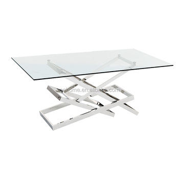 simple design wholesale stainless steel glass dining table hotel table - Stainless Steel Hotel Design