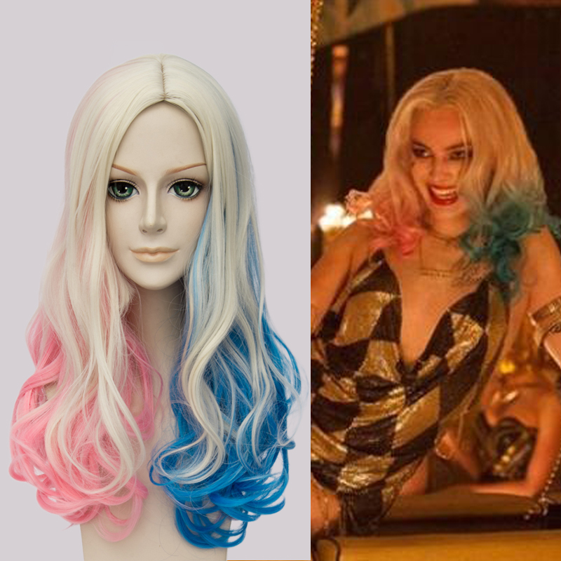 New!! Movie Suicide Squad Harley Quinn Cosplay Wig Multi Color Short Curly Synthetic Hair ...