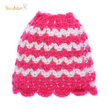 Personalise Wave Stripe Handmade Crochet Pattern Girl Bun Beanie Hat