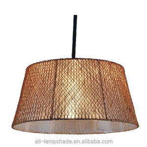 large string hand made drum shade ceiling pendant lamp