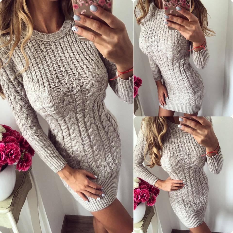 fedb784eda56fd1 Новый весна осень зима теплый сексуальный тонкий платье для женщин Bodycon вязаный  свитер