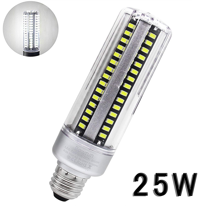 ROWRUN LED Light Bulb Warm White 6000K 25W E26/E27 Corn Light Bulb 200W Equivalent 110V Not Dimmable