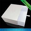 Ivory white texture paper rigid sliding drawer box for silk scarves gift packaging