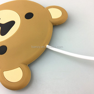 Factory outlet new design cute cartoon bear pvc safe wireless charger for phone