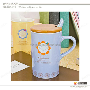 wholesale ceramic coffee mug with wooden lid and spoon made in china