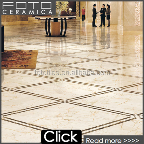 2015 New Hotel Lobby Floor Tile Design Beige Marble With