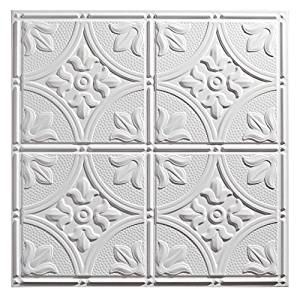 Genesis - Antique White 2x2 Ceiling Tiles 3 mm thick (carton of 12) – These 2'x2' Drop Ceiling Tiles are Water Proof and Won't Break - Fast and Easy Installation and a Great Alternative to Acoustical Ceiling Tiles - 25 Year Warranty (2' x 2' Tile)