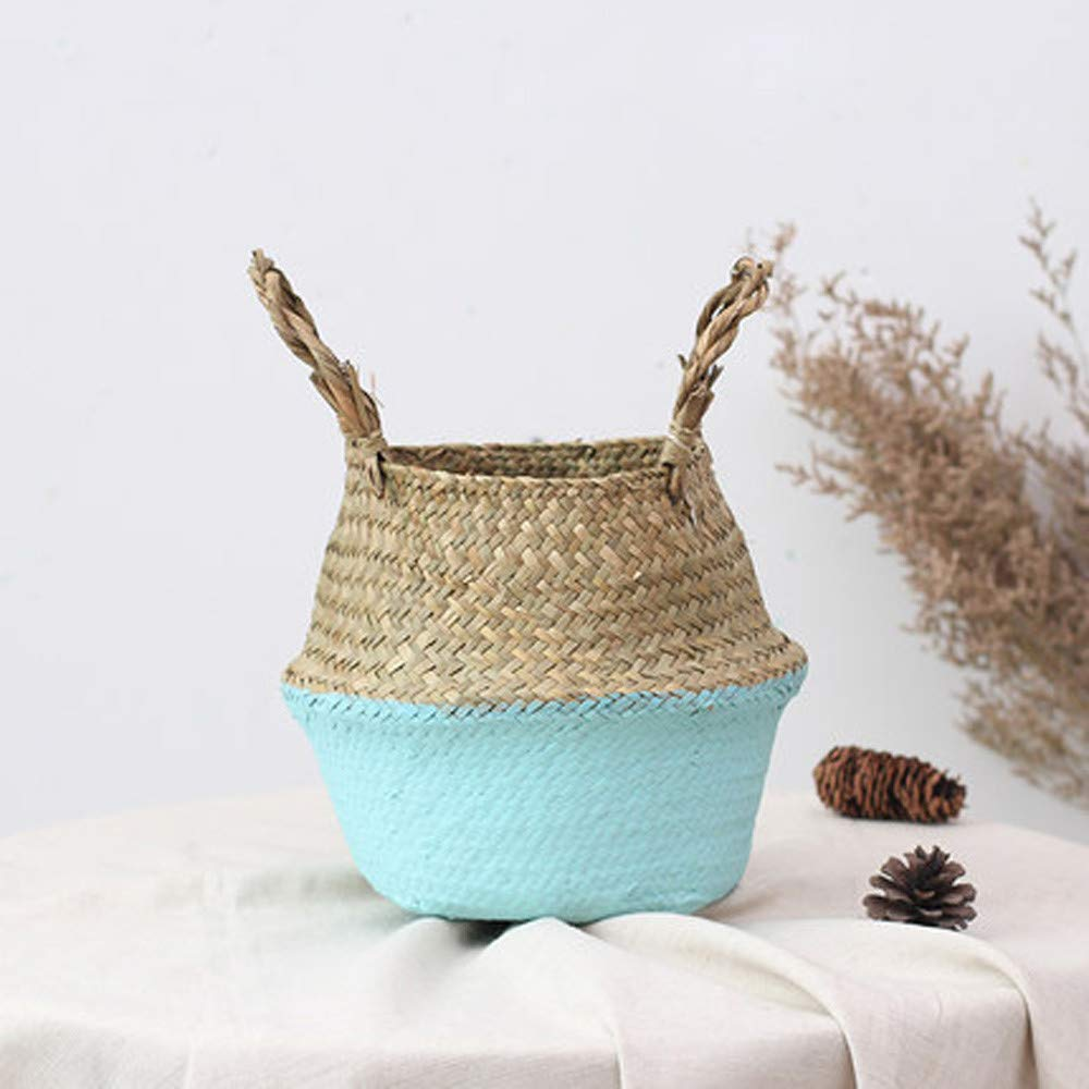 Seagrass Wicker Basket Wicker Basket Flower Pot Folding Basket Dirty Basket Storage Home Decor Natural Seagrass Belly Basket with Handles Large Storage Laundry Basket (Blue)