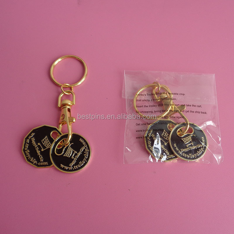 customcanadian lonnie and quater metal shopping cart token chip keychains metal, embossed logo metal gold key tags