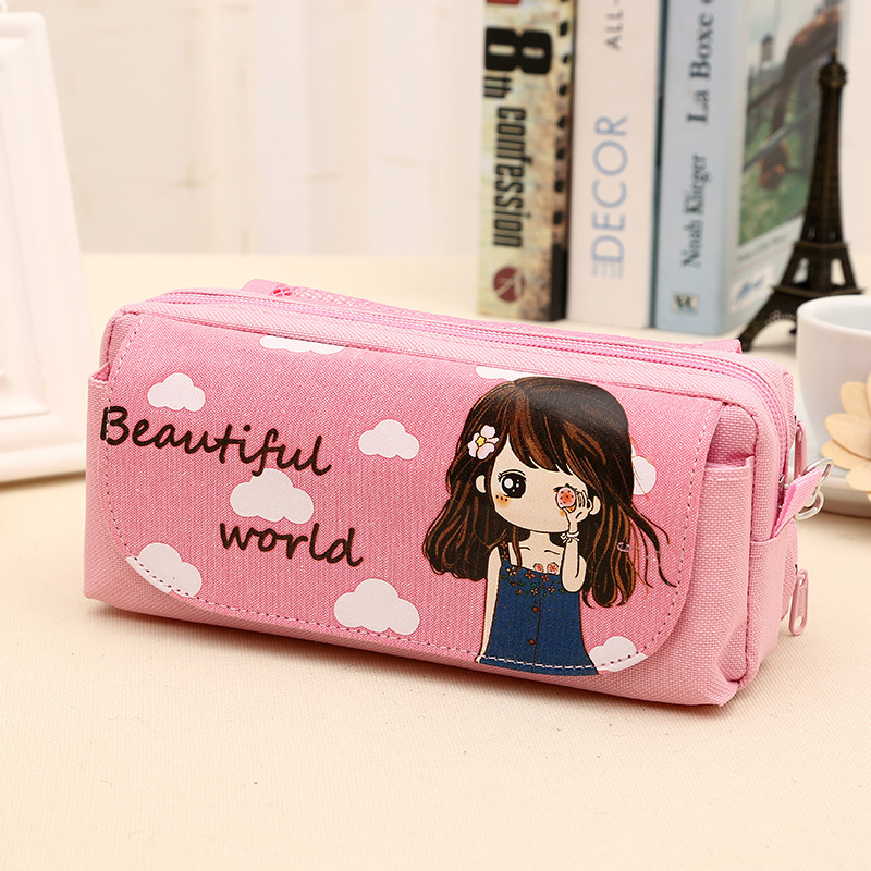 Hot Selling Printed Cartoon Girl Canvas Multifunction Large Pencil Case