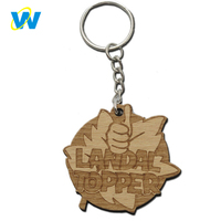 Customized wood key chain blank, wooden key chain with name